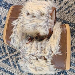Vintage fur leather ski boots
